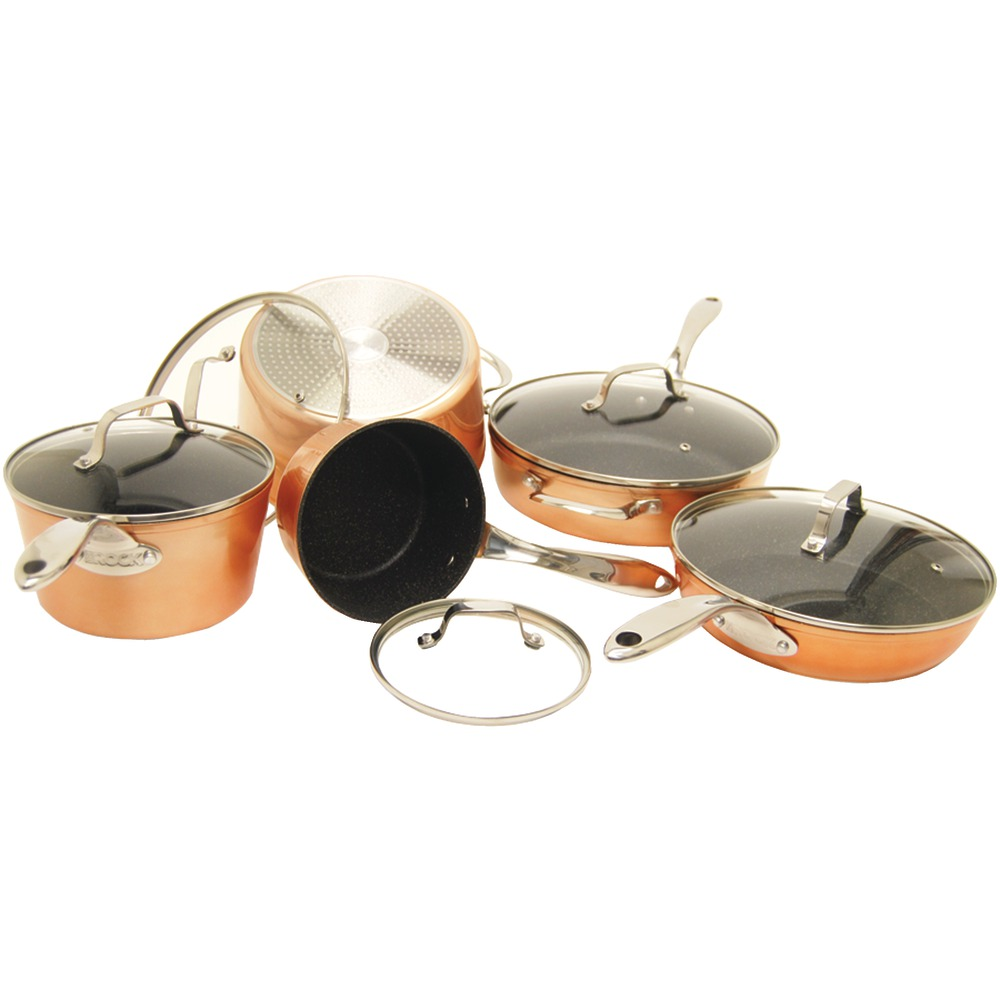 THE ROCK by Starfrit 030910-001-STAR THE ROCK(TM) by Starfrit(R) 10-Piece Copper Cookware Set