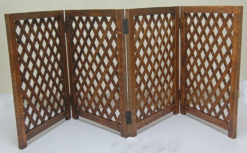 4 Panel Mango Wood Folding Pet Gate strong and durable