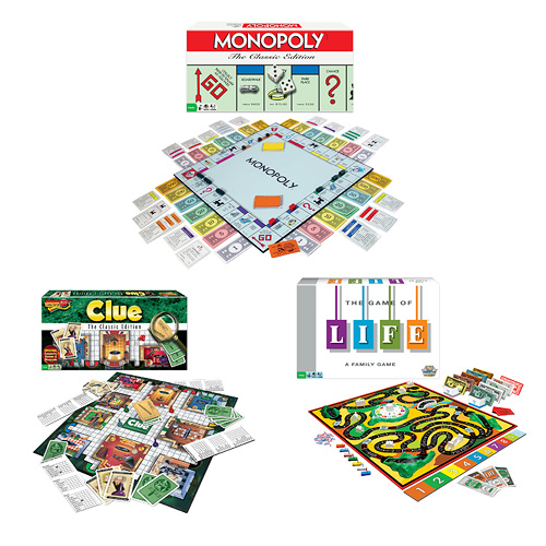 Classic Game Pack - Monopoly The Game of Life and Clue