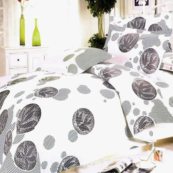 Blancho Bedding - [White Gray Marbles] 100% Cotton 4PC Duvet Cover Set (King Size)(Comforter not included)