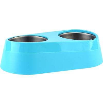 O2C Chill Pet Double Bowl Blue