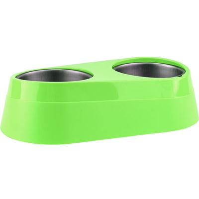 O2C Chill Pet Doubl Bowl Green