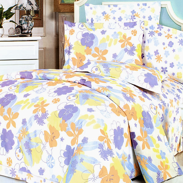 Blancho Bedding - [Purple Orange Flowers] 100% Cotton 4PC Duvet Cover Set (King Size)(Comforter not included)