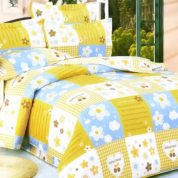 Blancho Bedding - [Yellow Countryside] 100% Cotton 4PC Duvet Cover Set (Full Size)(Comforter not included)