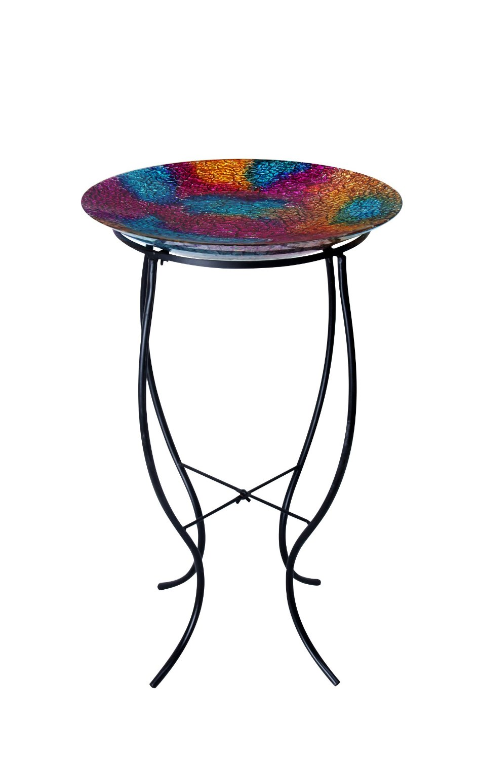 16 inch mosaic multi colored birdbath with metal stand