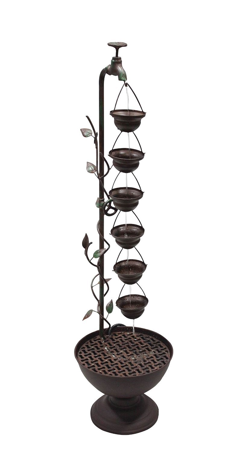 38 inch 6 hanging cup tier layered floor fountain