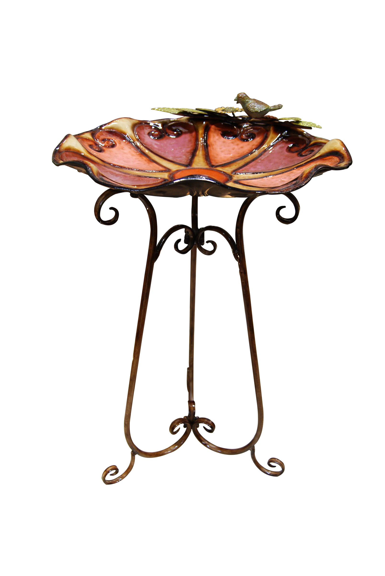 Ors198 19 Inch Red Hearts Metal Birdbath With Bird