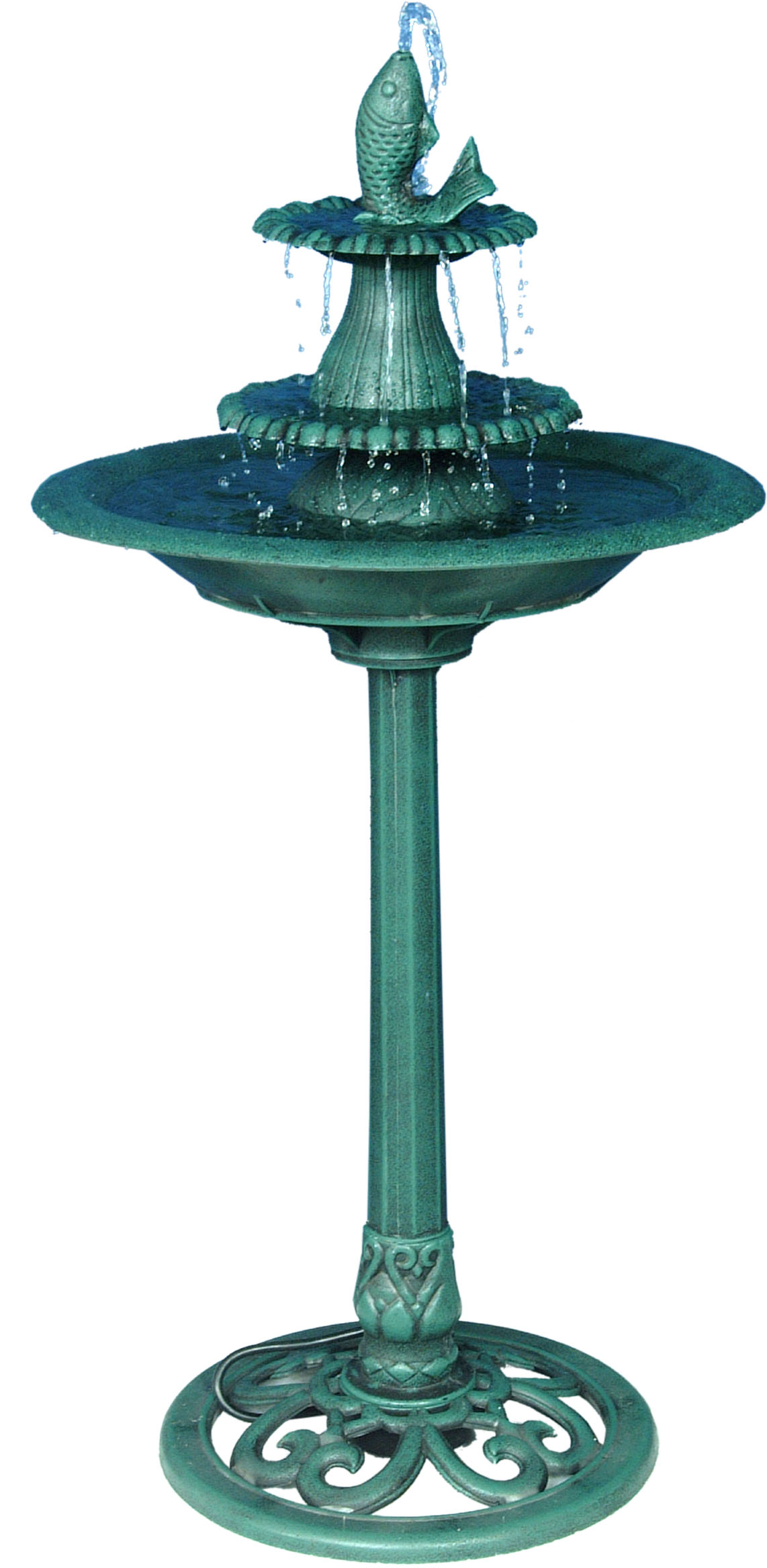 41 Inch Tiered Pedestal Fish Fountain Birdbath