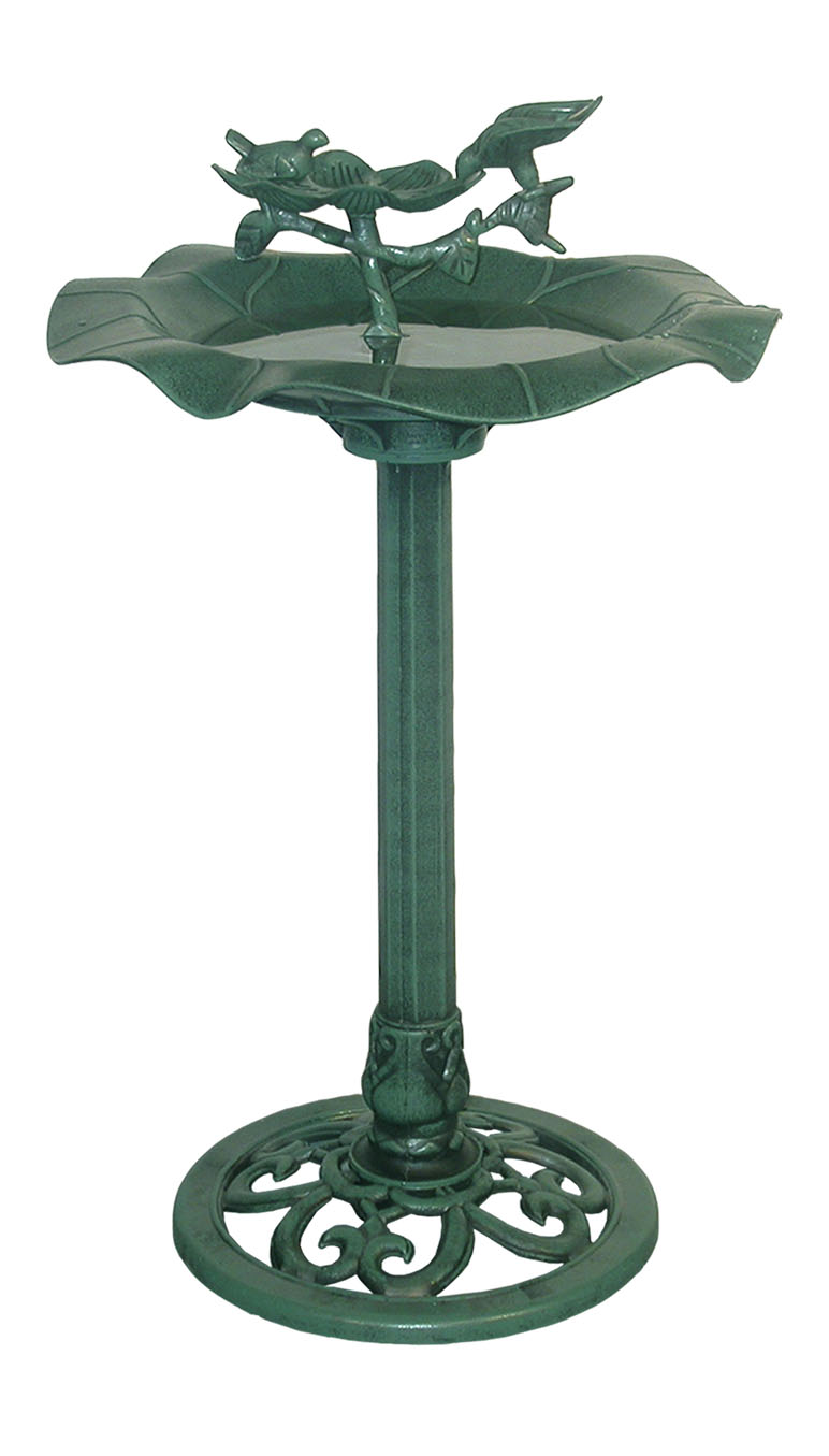 33 inch lotus birdbath with birds