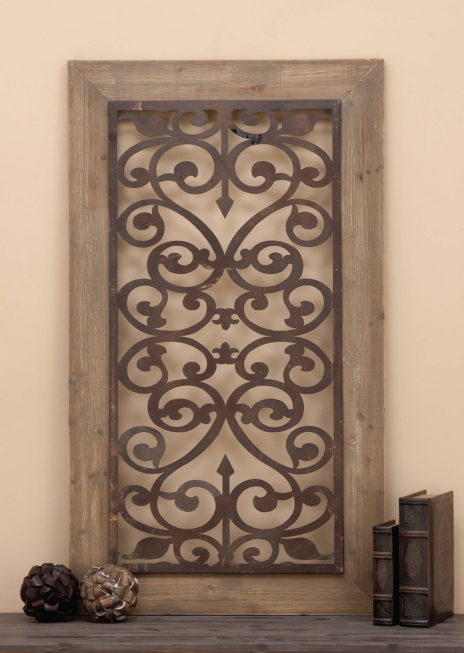 Garden style wall plaque with scrolling ironwork
