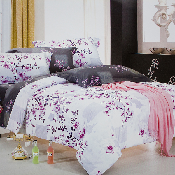 Blancho Bedding - [Plum in Snow] Luxury 7PC Bed In A Bag Combo 300GSM (King Size)